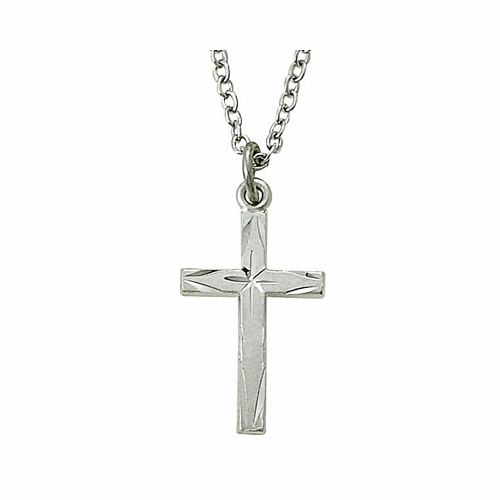 7/8 Inch Sterling Silver Centered Starburst Cross Necklace