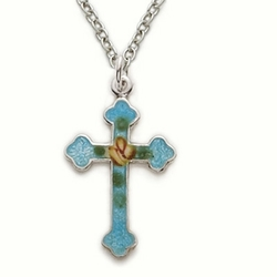 Sterling Silver Cross Necklace in an Enameled Turquiose Design