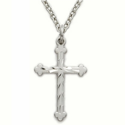 13/16 Inch Sterling Silver Budded Ends Cross Necklace