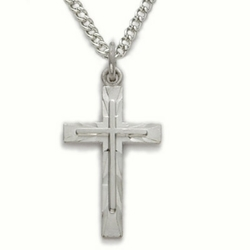 Sterling Silver Cross Necklace in an Engraved inner Cross Design