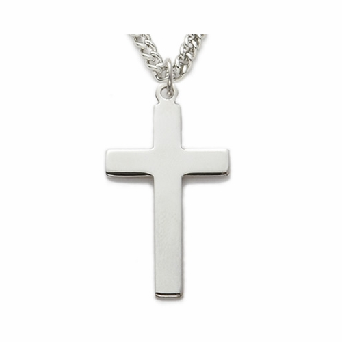 Sterling Silver Cross Necklace in Plain Style Design