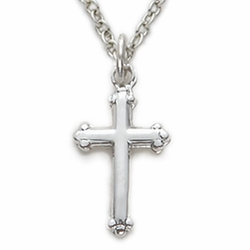 11/16 Inch Sterling Silver Budded Ends Cross Necklace