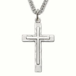 Sterling Silver Cross Necklace with Inner Cross