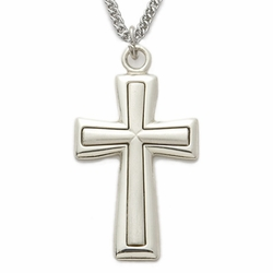 Sterling Silver Cross Necklace with Satin Inner Cross and Polished Edge Finish