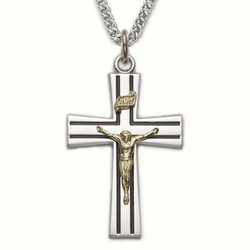 Sterling Silver Crucifix Necklace in a 2-Tone and Black Enameld Design