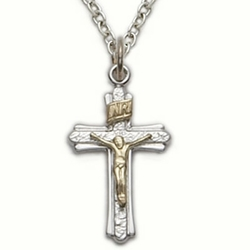 Sterling Silver Crucifix Necklace in a 2-Tone and Brushed Finish Design