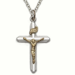 Sterling Silver Crucifix Necklace in a 2-Tone and Lined Design