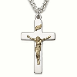 Sterling Silver Crucifix Necklace in a 2-Tone Design