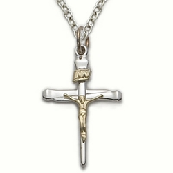 Sterling Silver Crucifix Necklace in a 2-Tone Nail Style Design