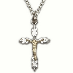 Sterling Silver Crucifix Necklace in a 2-Tone Wheat  Ends Design