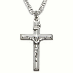 Sterling Silver Crucifix Necklace in a Bevelled Design