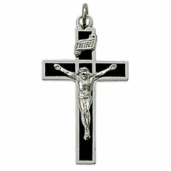 Sterling Silver Crucifix Necklace in a Black Enameled and Silver Border Design