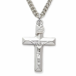 Sterling Silver Crucifix Necklace in a Polished Finish and Beveled Design