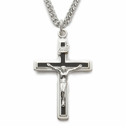 Sterling Silver Crucifix Necklace in a Polished Finish and Black Enameled Design
