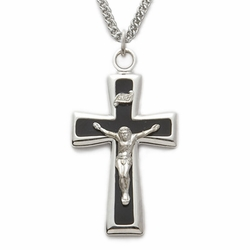 Sterling Silver Crucifix Necklace in a Polished Trim and Black Enameled Design
