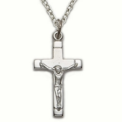Sterling Silver Crucifix Necklace in a Satin Finish and Polished Ends Design