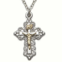 Sterling Silver Crucifix Necklaces in a 2-Tone and Filigree Design