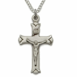 Sterling Silver Crucifix Necklaces in a a V-Cut Engraved Ends Design