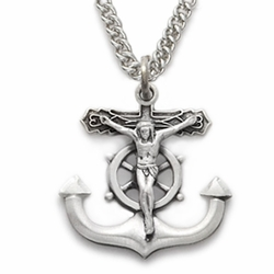 Sterling Silver Crucifix Necklaces in a Salior Anchor Design