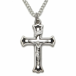 Sterling Silver Crucifix With Black Enamel Border