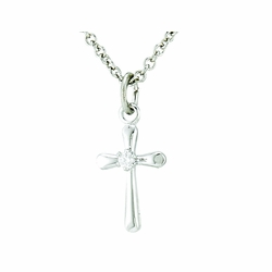 Sterling Silver CZ Crystal Stone Baby Cross Necklace
