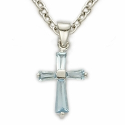 Sterling Silver December Turqoise Birthstone Baby Cross Necklace