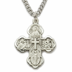Sterling Silver Engraved Four Way Medal Necklace