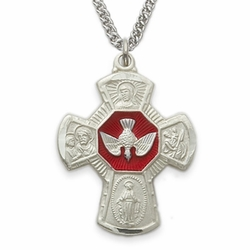 <font size=2>Sterling Silver Engraved Sandblasted Four Way Meda Necklacel w/ Red Enameled Centered Dove</font>