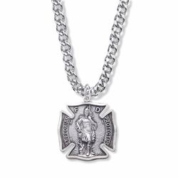 1-1/8 Sterling Silver St. Michael Shield Medal, Patron Of Firefighters