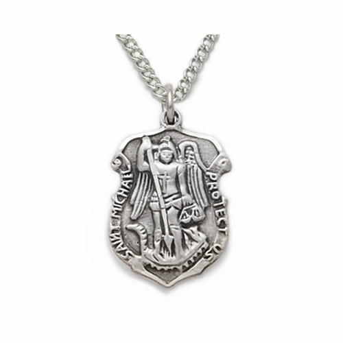 Sterling Silver Engraved St. Michael Police Shield Medal, Patron of Police Officers