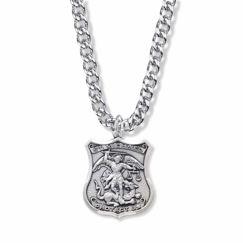 1-1/8 Sterling Silver St. Michael Shield Medal, Patron Of Police Officers and Our Military Forces