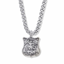 Sterling Silver Engraved St. Michael Shield Medal, Patron Of Police Officers