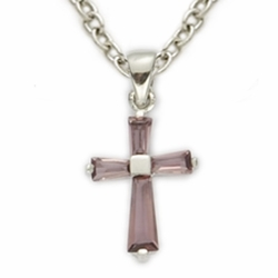 Sterling Silver February Amethyst Birthstone Baby Cross Necklaces