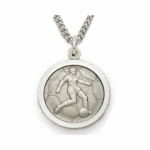 Sterling Silver Girl's Soccer Player Medal, St. Christopher on Back