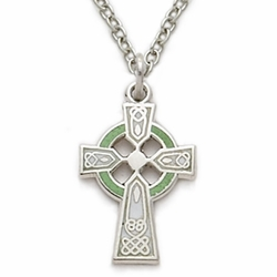 Sterling Silver Green Enameled Baby Celtic Cross