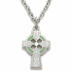 Sterling Silver Green Enameled Celtic Cross