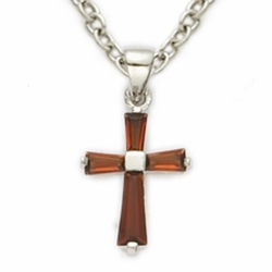 Sterling Silver January Garnet Birthstone Baby Cross Necklaces