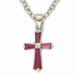 Sterling Silver July Ruby Birthstone BabyCross Necklaces