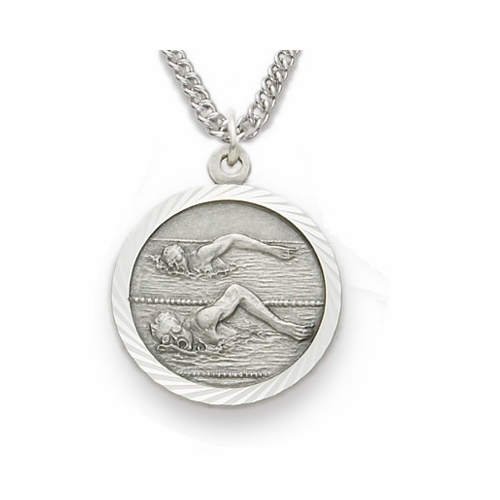 Sterling Silver Male Swimmer Medal, St. Christopher on Back
