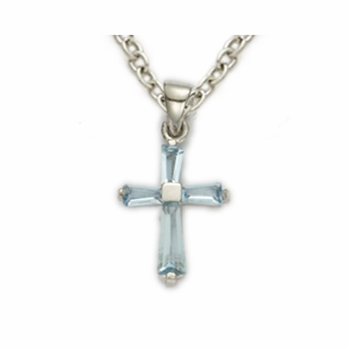 Sterling Silver March Aquamarine Birthstone Baby Cross Necklace
