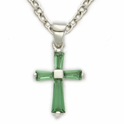 Sterling Silver May Emerald Birthstone Baby Cross Necklaces