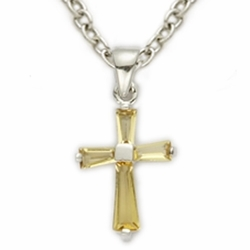 Sterling Silver November Topaz Birthstone Baby Cross Necklaces