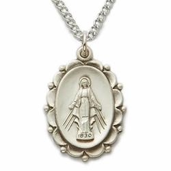 Sterling Silver Oval Miraculous Medal in a Decorative Border Design