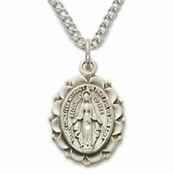 Sterling Silver Oval Miraculous Medal in a Polished Finish and Decorative Border Design