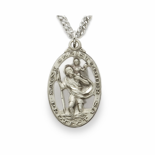 Sterling Silver Oval Pierced St. Christopher Medal