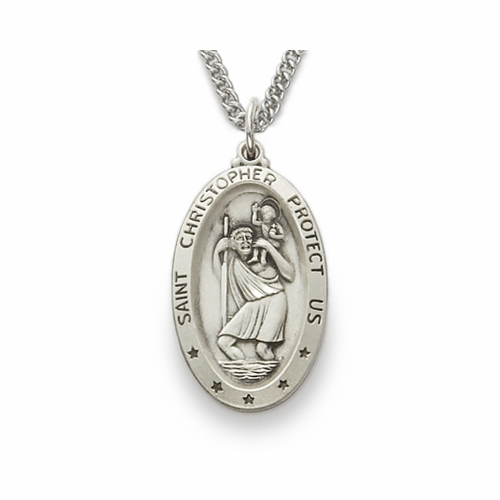 Sterling Silver Oval St. Christopher Medal