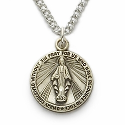 Sterling Silver Round Miraculous Medal in a Satin Finish and Engraved Design