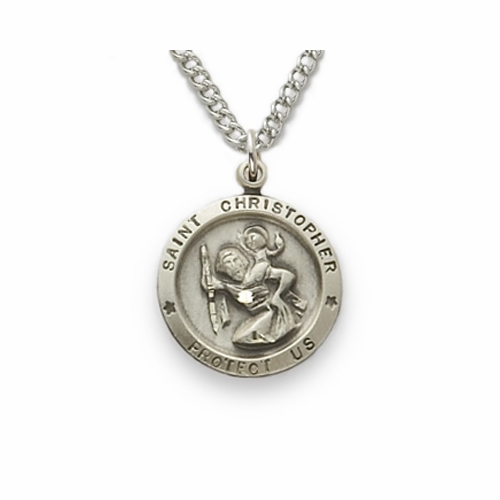 Sterling Silver Round St. Christopher Medal