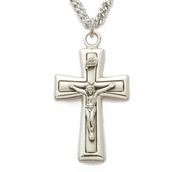 Sterling Silver Satin  Crucifix with Polished Edges