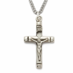 Sterling Silver Satin Crucifix with Polished Ends